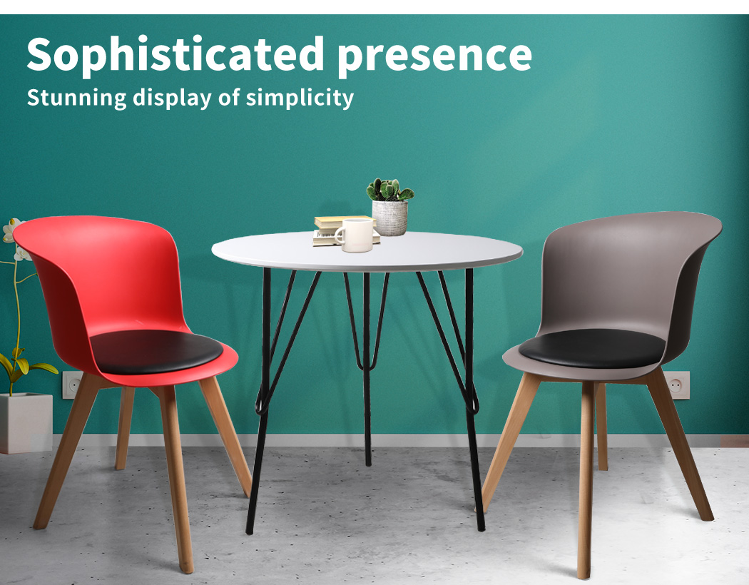 thumbnail 16 - Dining Table Chairs Set Round Café Kitchen Office Meeting Wooden Leg Modern Seat