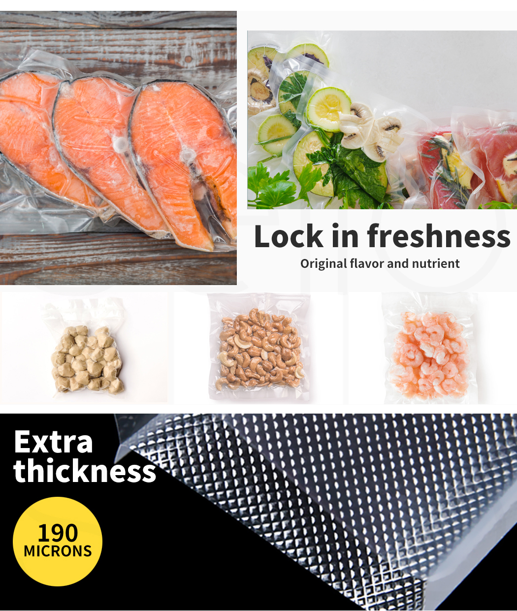 thumbnail 49 - Vacuum Food Sealer Storage Bags Saver Seal Bags Commercial Heat 100/200/500x