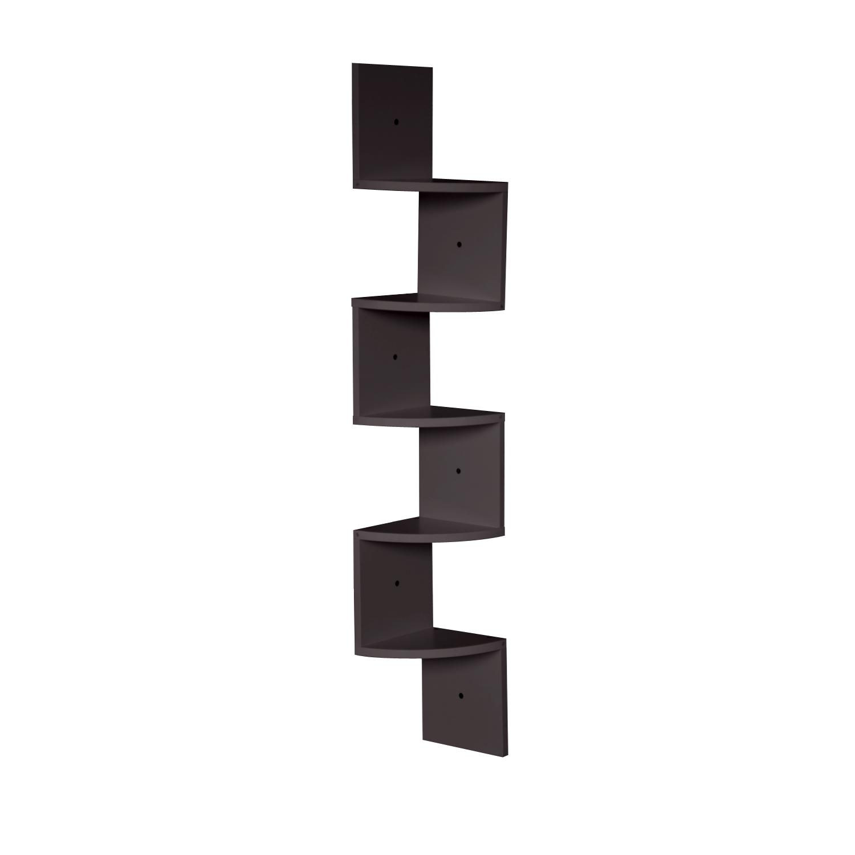 thumbnail 22 - Levede 5 Tier Corner Wall Shelf Display Shelves DVD CD Storage Zig-tag Rack