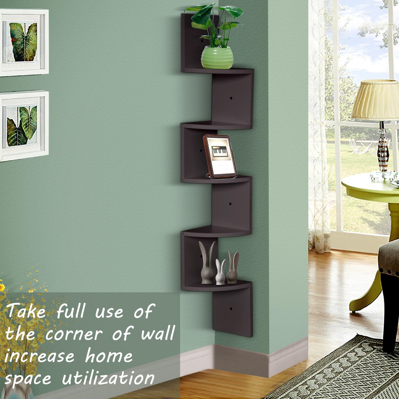 thumbnail 14 - Levede 5 Tier Corner Wall Shelf Display Shelves DVD CD Storage Zig-tag Rack