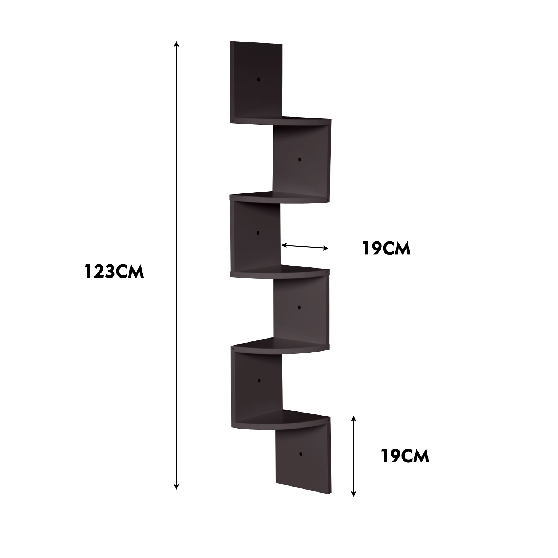 thumbnail 21 - Levede 5 Tier Corner Wall Shelf Display Shelves DVD CD Storage Zig-tag Rack