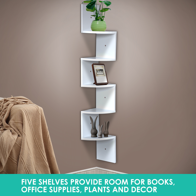 thumbnail 34 - Levede 5 Tier Corner Wall Shelf Display Shelves DVD CD Storage Zig-tag Rack