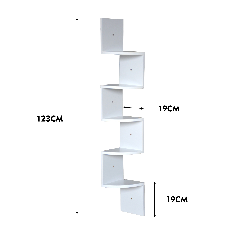 thumbnail 39 - Levede 5 Tier Corner Wall Shelf Display Shelves DVD CD Storage Zig-tag Rack