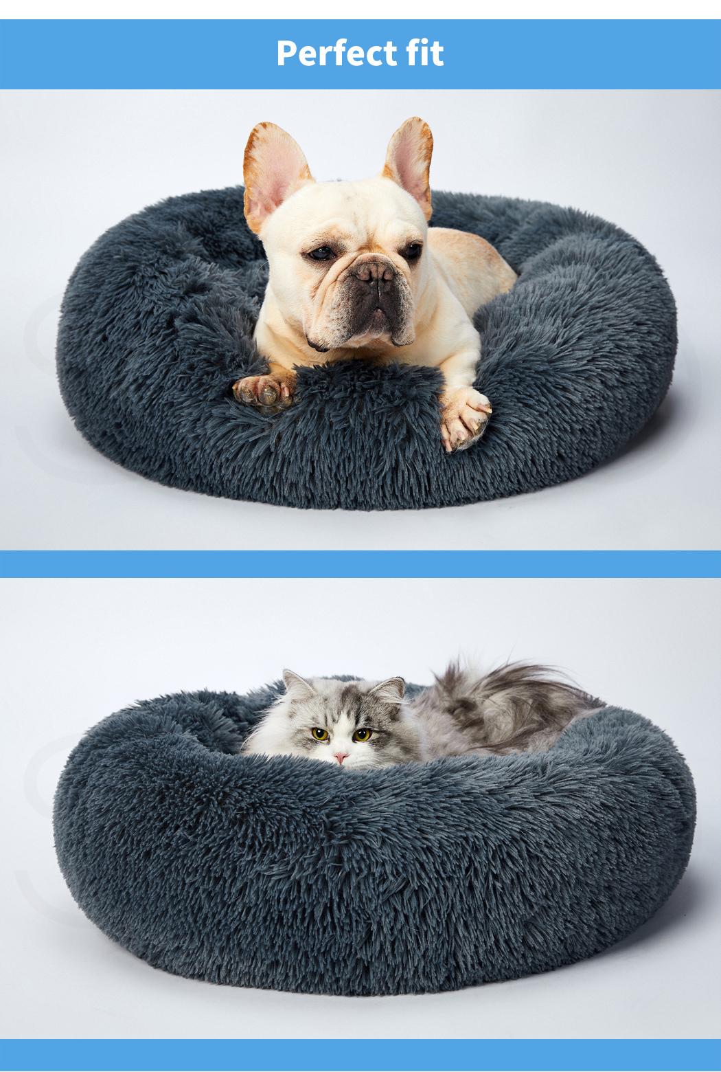 thumbnail 74 - PaWz Pet Bed Cat Dog Donut Nest Calming Mat Soft Plush Kennel Cave Deep Sleeping
