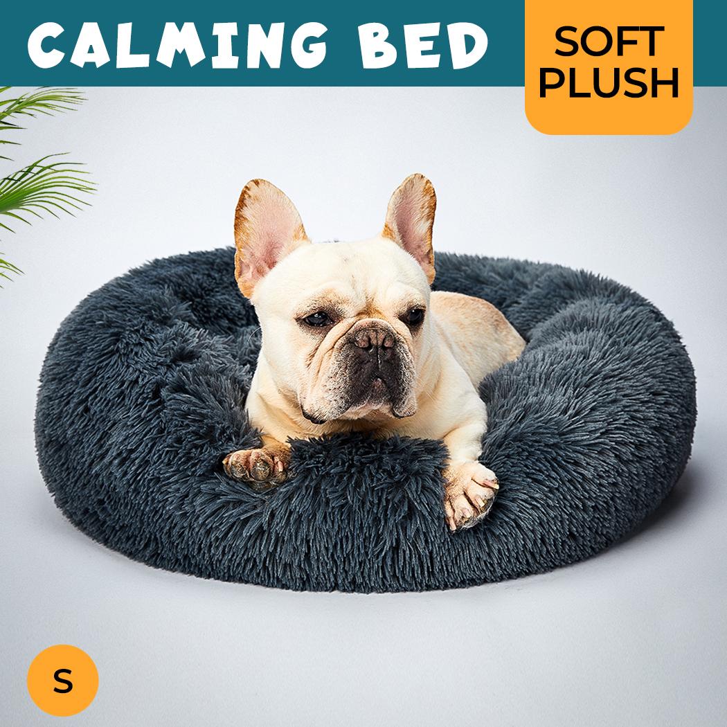 thumbnail 121 - PaWz Pet Bed Cat Dog Donut Nest Calming Mat Soft Plush Kennel Cave Deep Sleeping