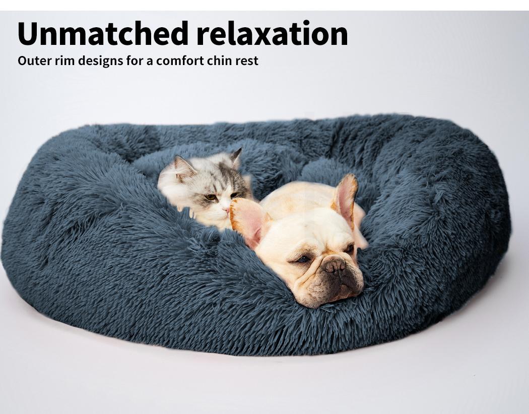 thumbnail 113 - PaWz Pet Bed Cat Dog Donut Nest Calming Mat Soft Plush Kennel Cave Deep Sleeping