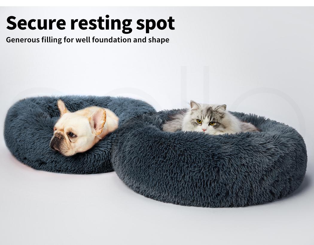 thumbnail 114 - PaWz Pet Bed Cat Dog Donut Nest Calming Mat Soft Plush Kennel Cave Deep Sleeping