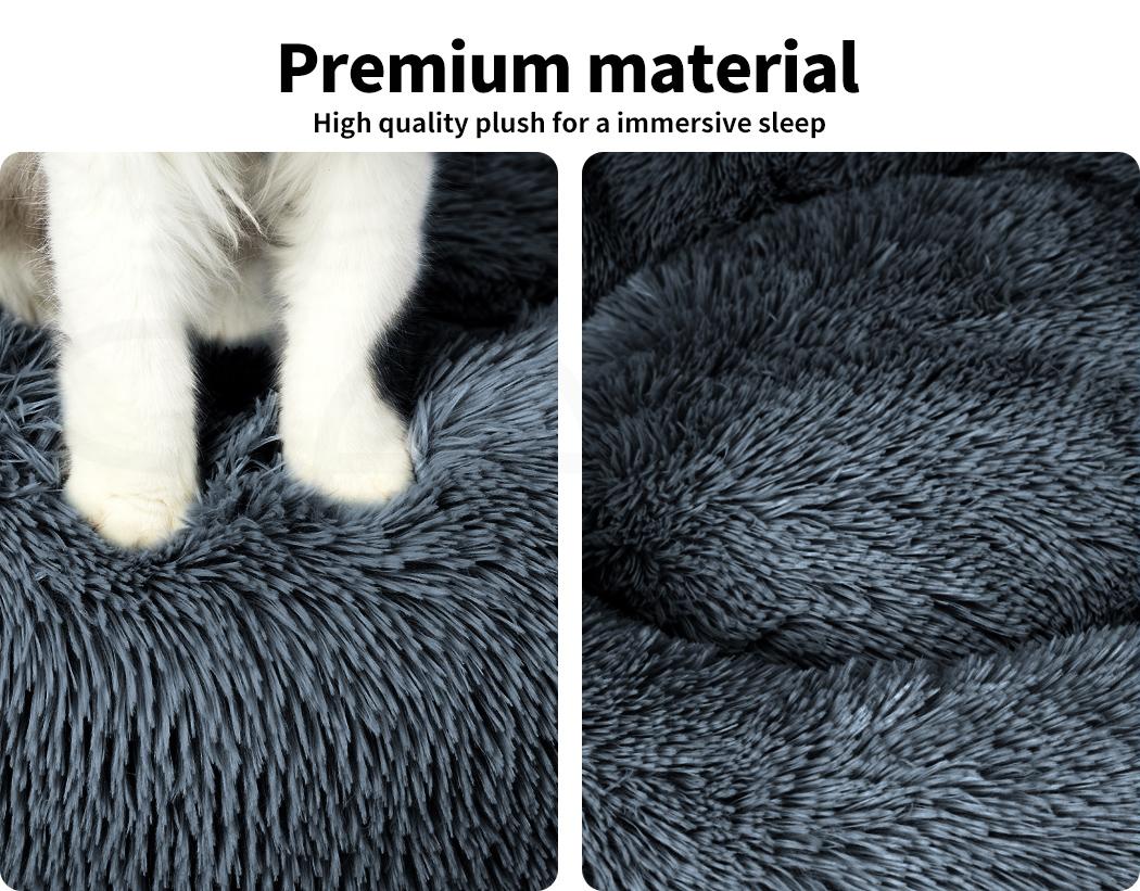 thumbnail 116 - PaWz Pet Bed Cat Dog Donut Nest Calming Mat Soft Plush Kennel Cave Deep Sleeping