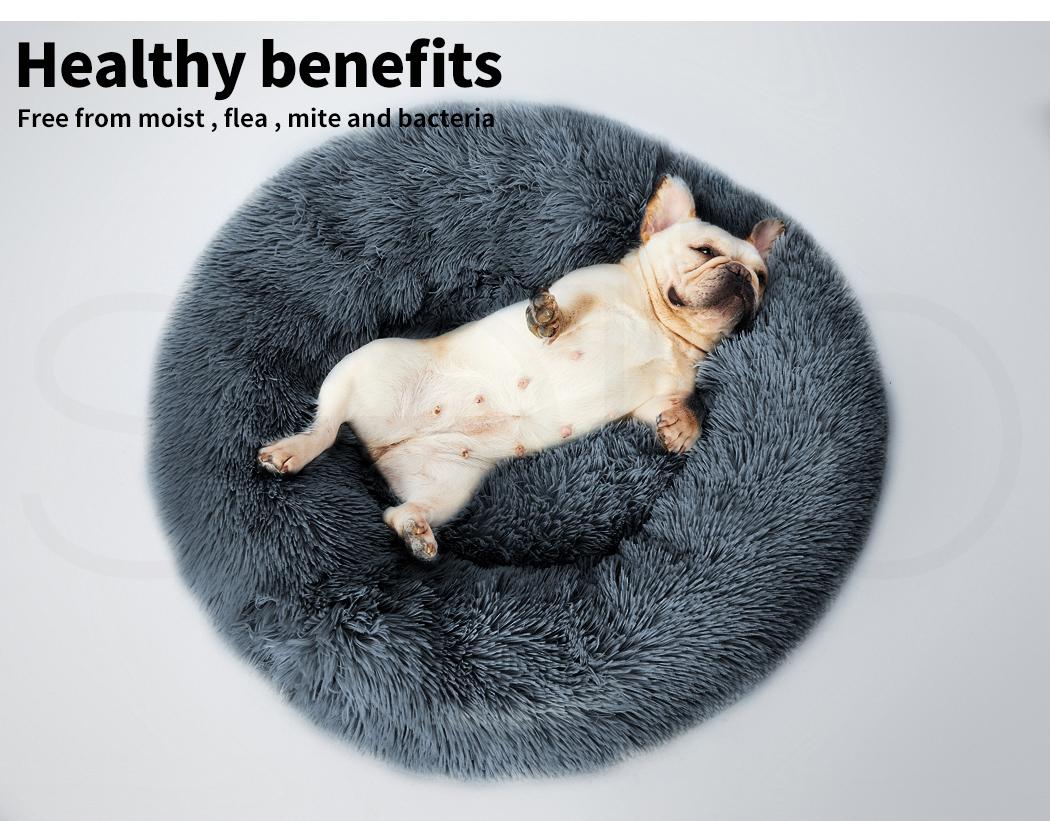 thumbnail 117 - PaWz Pet Bed Cat Dog Donut Nest Calming Mat Soft Plush Kennel Cave Deep Sleeping