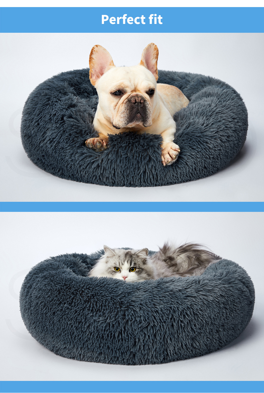 thumbnail 162 - PaWz Pet Bed Cat Dog Donut Nest Calming Mat Soft Plush Kennel Cave Deep Sleeping