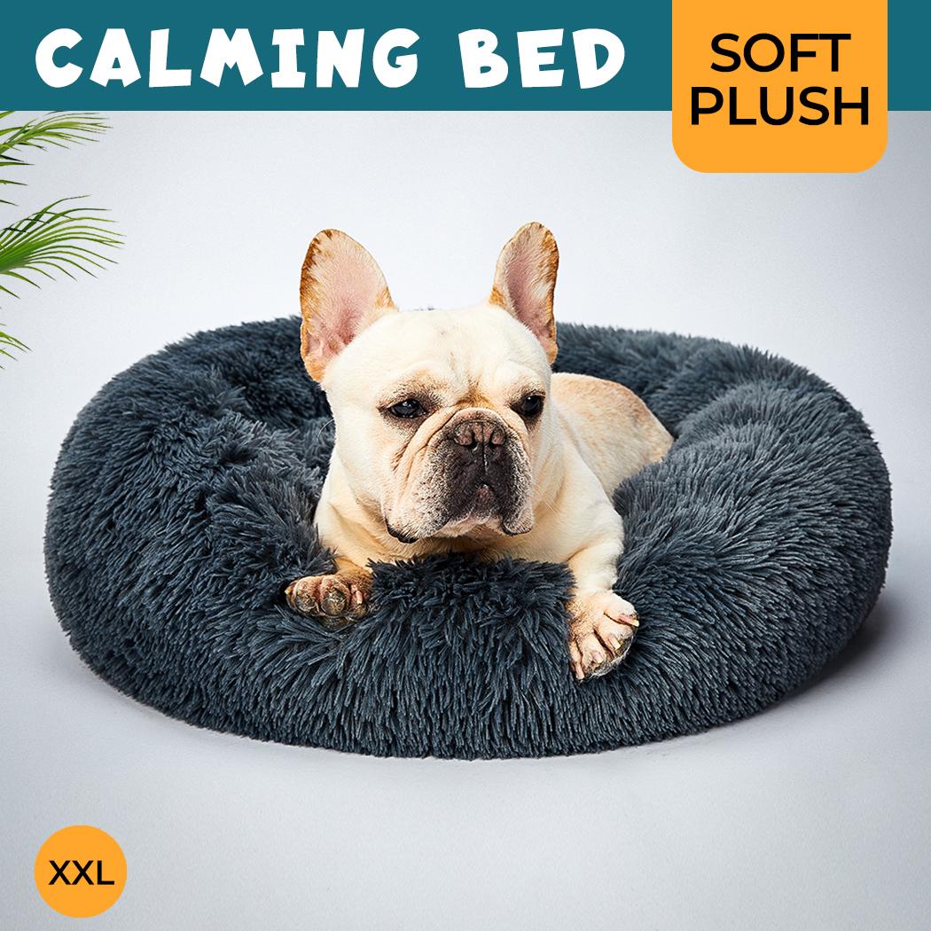 thumbnail 209 - PaWz Pet Bed Cat Dog Donut Nest Calming Mat Soft Plush Kennel Cave Deep Sleeping