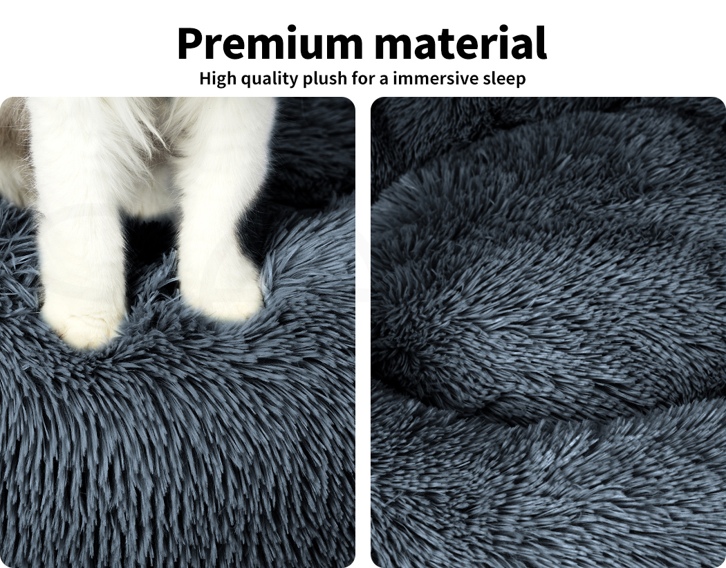 thumbnail 204 - PaWz Pet Bed Cat Dog Donut Nest Calming Mat Soft Plush Kennel Cave Deep Sleeping