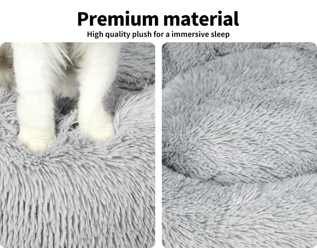 thumbnail 127 - PaWz Pet Bed Cat Dog Donut Nest Calming Mat Soft Plush Kennel Cave Deep Sleeping