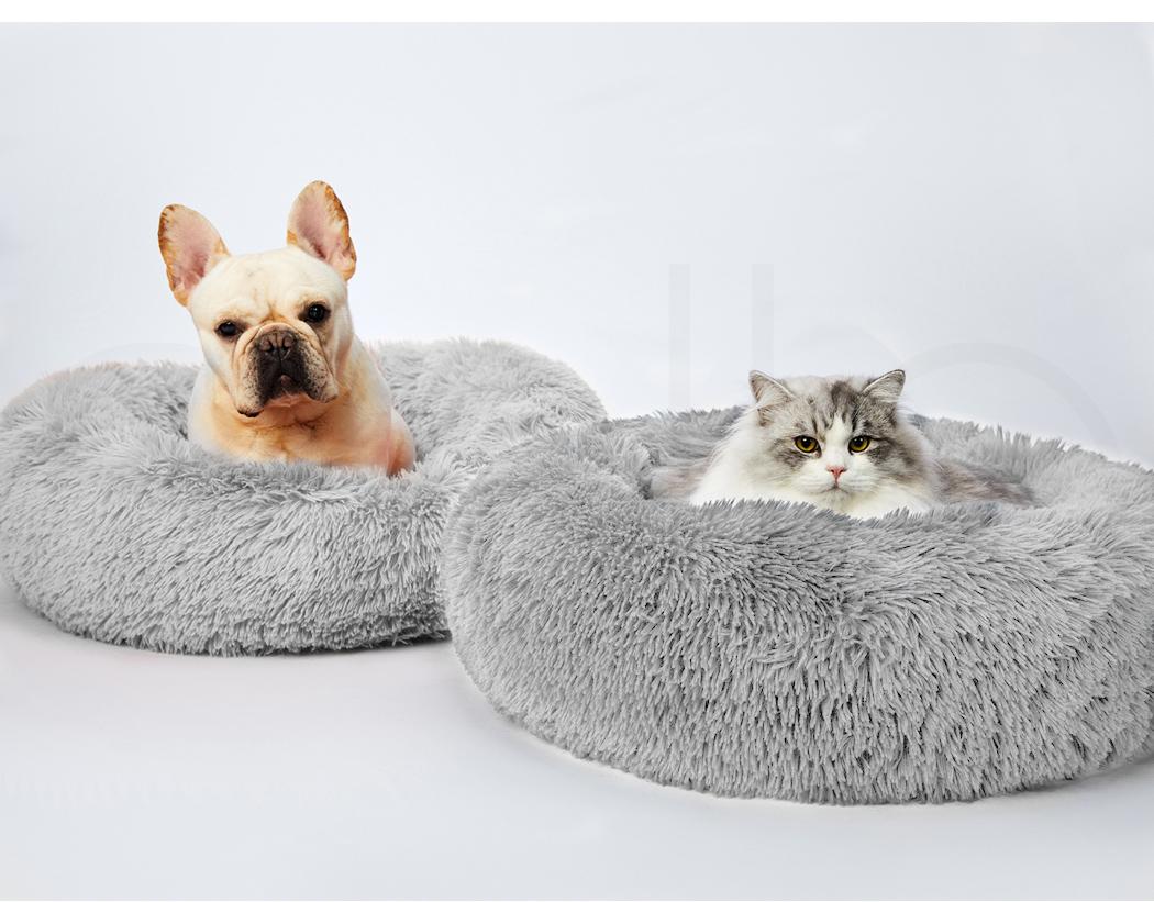 thumbnail 131 - PaWz Pet Bed Cat Dog Donut Nest Calming Mat Soft Plush Kennel Cave Deep Sleeping