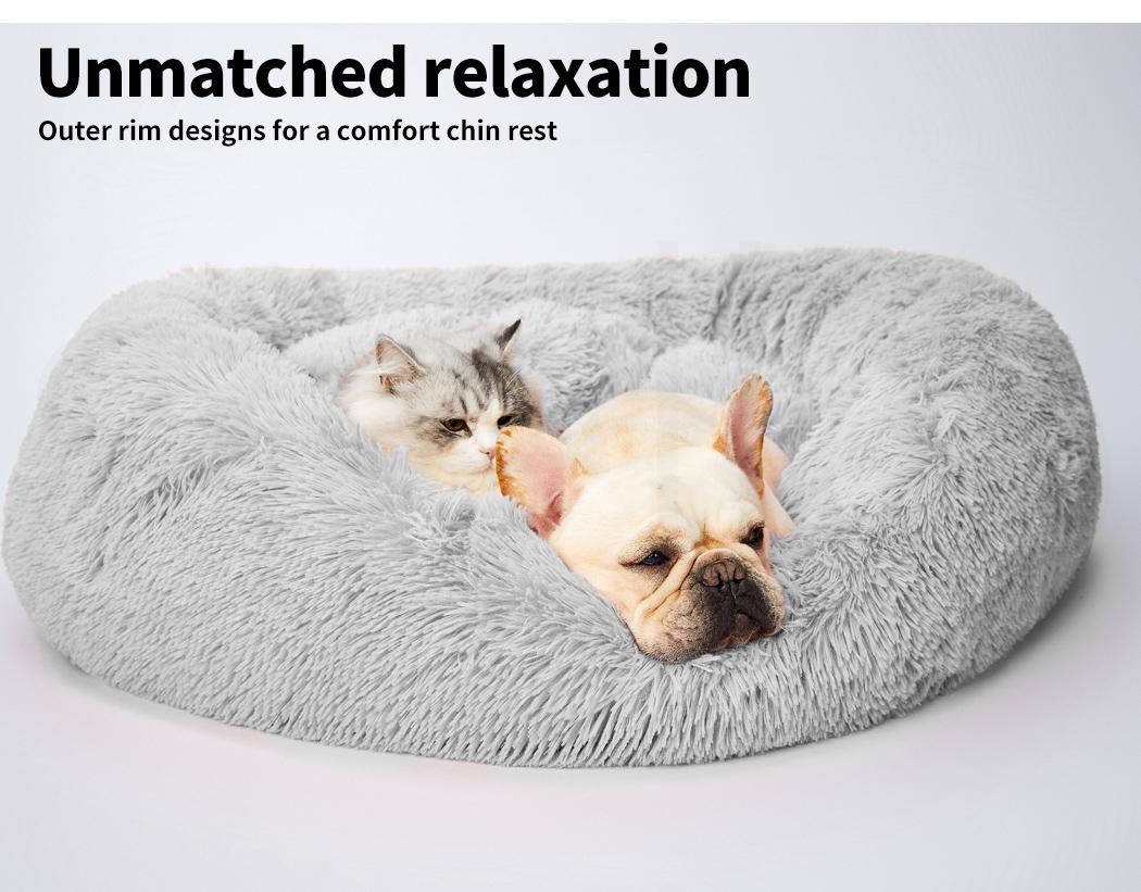 thumbnail 212 - PaWz Pet Bed Cat Dog Donut Nest Calming Mat Soft Plush Kennel Cave Deep Sleeping