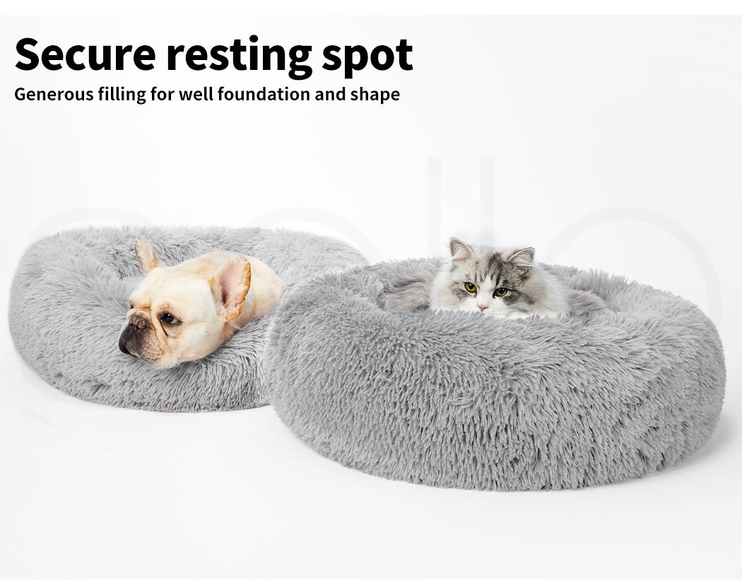 thumbnail 213 - PaWz Pet Bed Cat Dog Donut Nest Calming Mat Soft Plush Kennel Cave Deep Sleeping