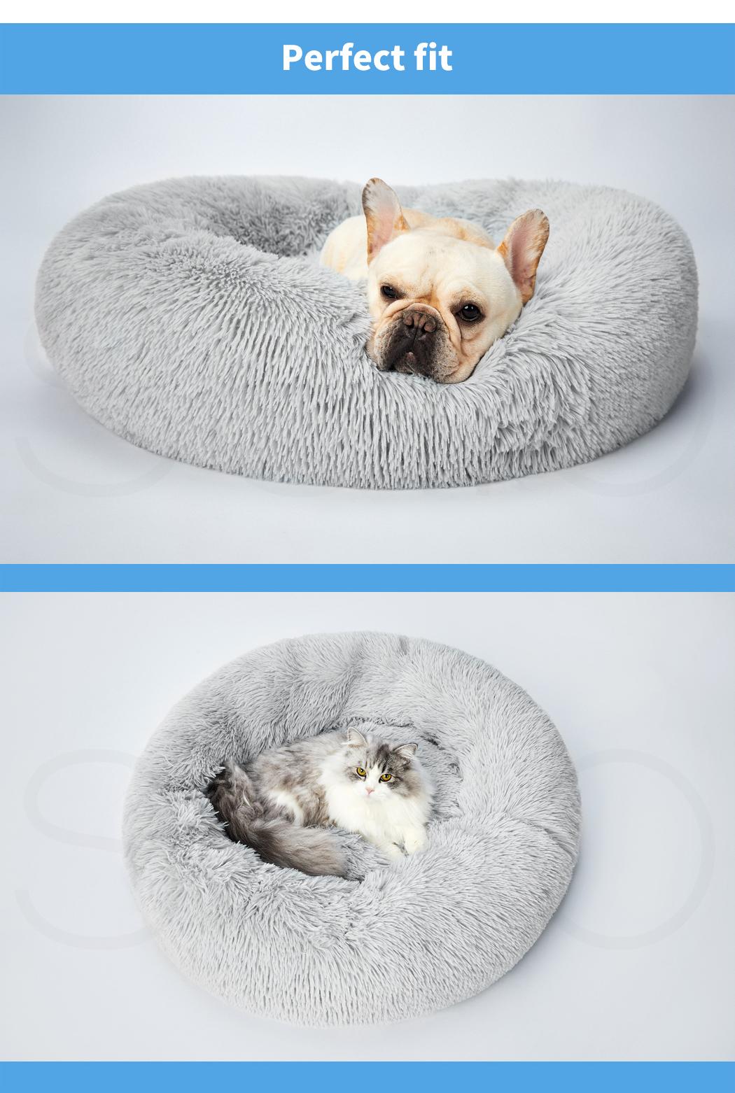 thumbnail 217 - PaWz Pet Bed Cat Dog Donut Nest Calming Mat Soft Plush Kennel Cave Deep Sleeping