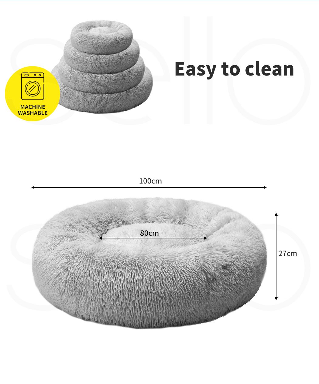 thumbnail 218 - PaWz Pet Bed Cat Dog Donut Nest Calming Mat Soft Plush Kennel Cave Deep Sleeping