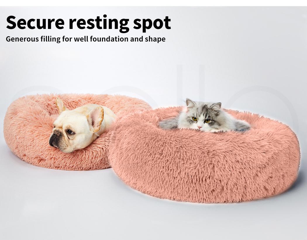 thumbnail 48 - PaWz Pet Bed Cat Dog Donut Nest Calming Mat Soft Plush Kennel Cave Deep Sleeping