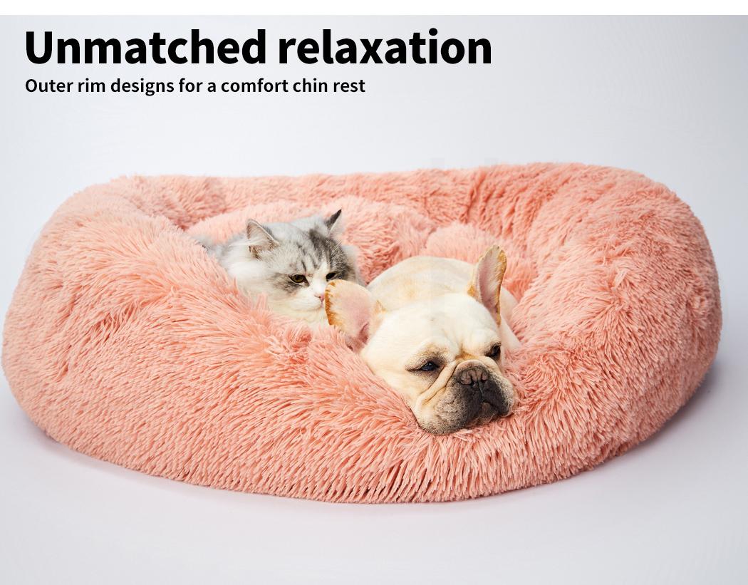 thumbnail 135 - PaWz Pet Bed Cat Dog Donut Nest Calming Mat Soft Plush Kennel Cave Deep Sleeping