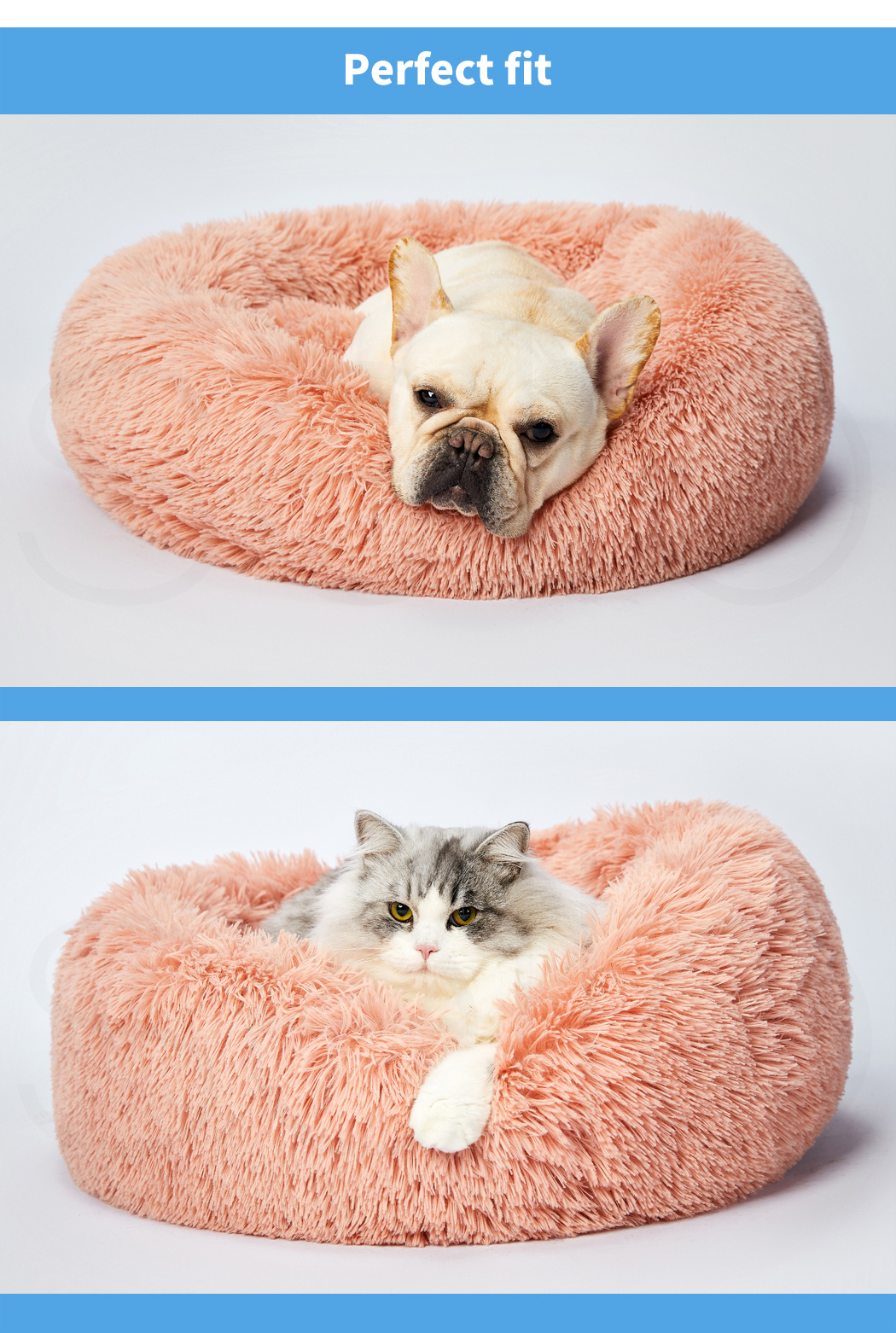 thumbnail 140 - PaWz Pet Bed Cat Dog Donut Nest Calming Mat Soft Plush Kennel Cave Deep Sleeping