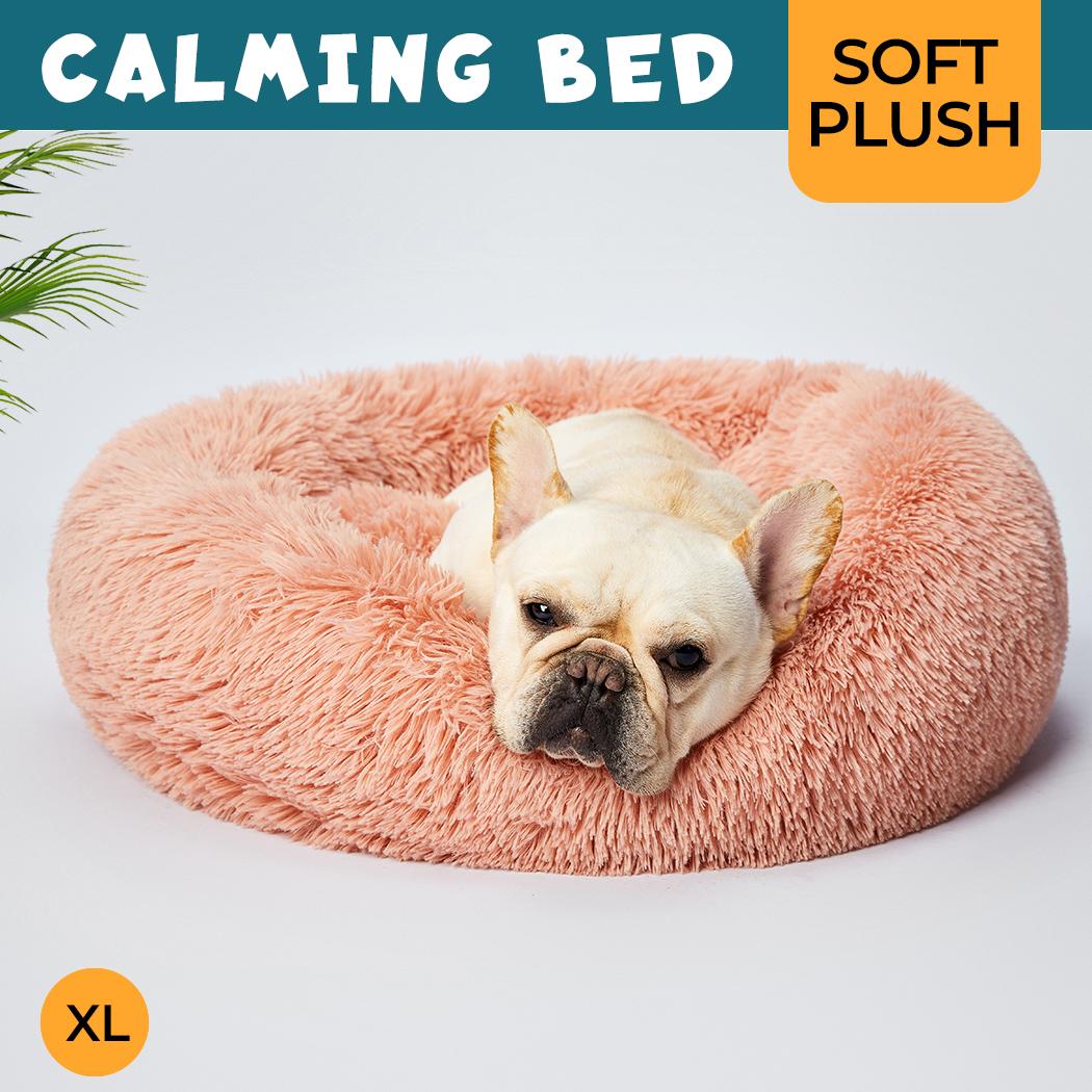 thumbnail 187 - PaWz Pet Bed Cat Dog Donut Nest Calming Mat Soft Plush Kennel Cave Deep Sleeping