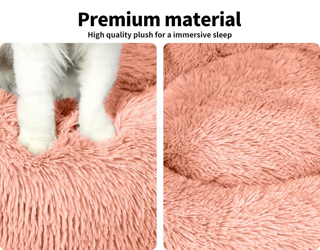 thumbnail 182 - PaWz Pet Bed Cat Dog Donut Nest Calming Mat Soft Plush Kennel Cave Deep Sleeping