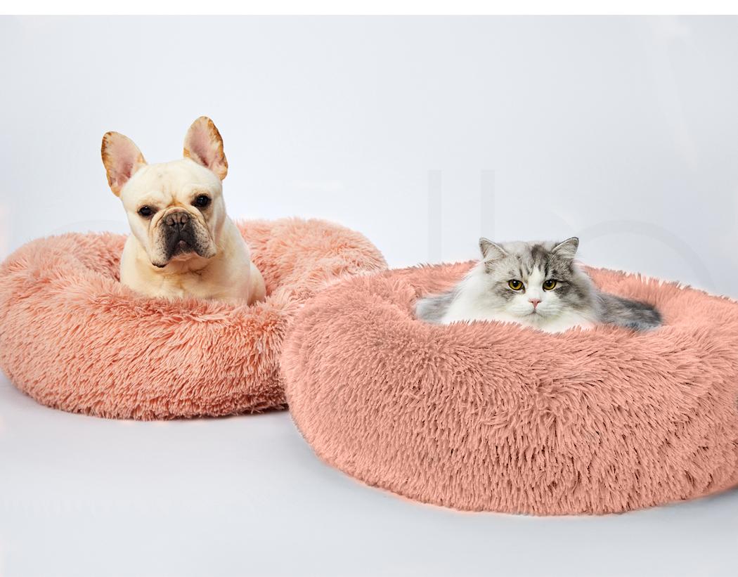 thumbnail 186 - PaWz Pet Bed Cat Dog Donut Nest Calming Mat Soft Plush Kennel Cave Deep Sleeping