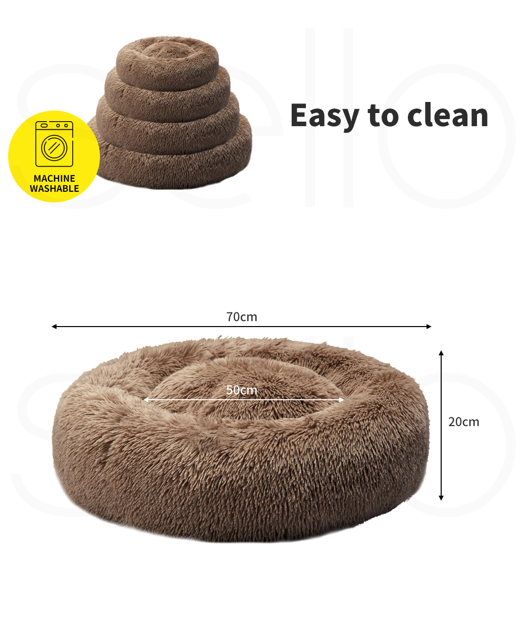 thumbnail 20 - PaWz Dog Calming Bed Cat Cave Pet Nest Soft Plush Warm Comfy Kennel Extra Large