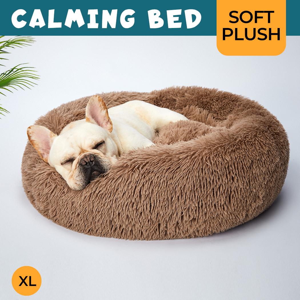thumbnail 154 - PaWz Pet Bed Cat Dog Donut Nest Calming Mat Soft Plush Kennel Cave Deep Sleeping
