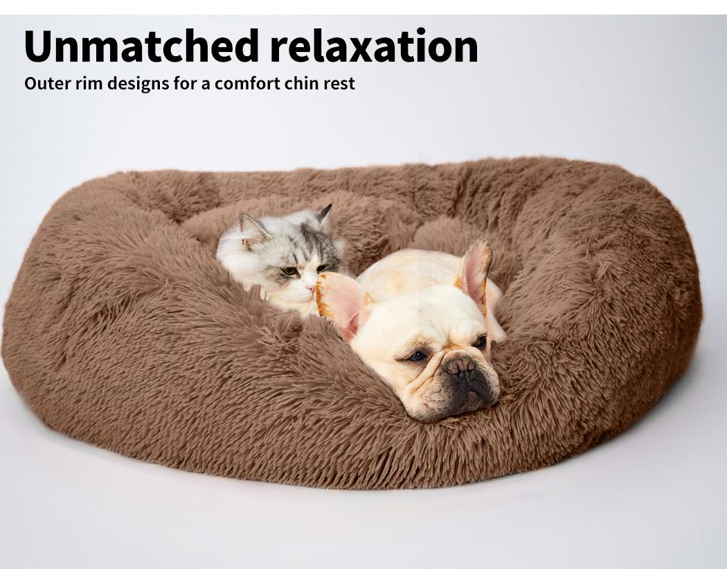 thumbnail 146 - PaWz Pet Bed Cat Dog Donut Nest Calming Mat Soft Plush Kennel Cave Deep Sleeping