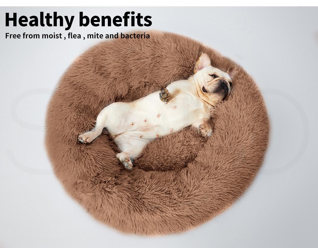 thumbnail 150 - PaWz Pet Bed Cat Dog Donut Nest Calming Mat Soft Plush Kennel Cave Deep Sleeping