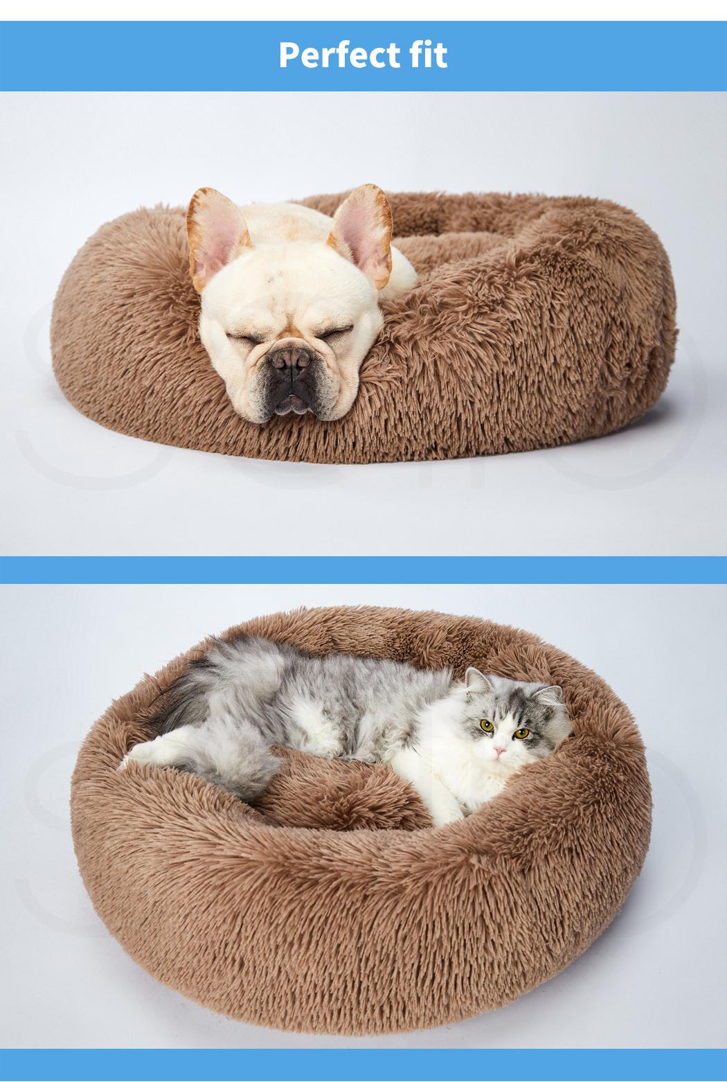 thumbnail 151 - PaWz Pet Bed Cat Dog Donut Nest Calming Mat Soft Plush Kennel Cave Deep Sleeping