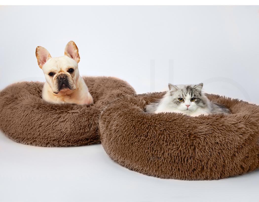 thumbnail 153 - PaWz Pet Bed Cat Dog Donut Nest Calming Mat Soft Plush Kennel Cave Deep Sleeping