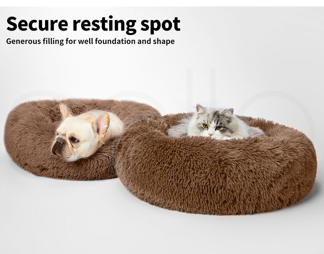 thumbnail 191 - PaWz Pet Bed Cat Dog Donut Nest Calming Mat Soft Plush Kennel Cave Deep Sleeping