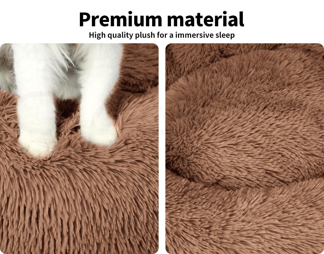 thumbnail 193 - PaWz Pet Bed Cat Dog Donut Nest Calming Mat Soft Plush Kennel Cave Deep Sleeping