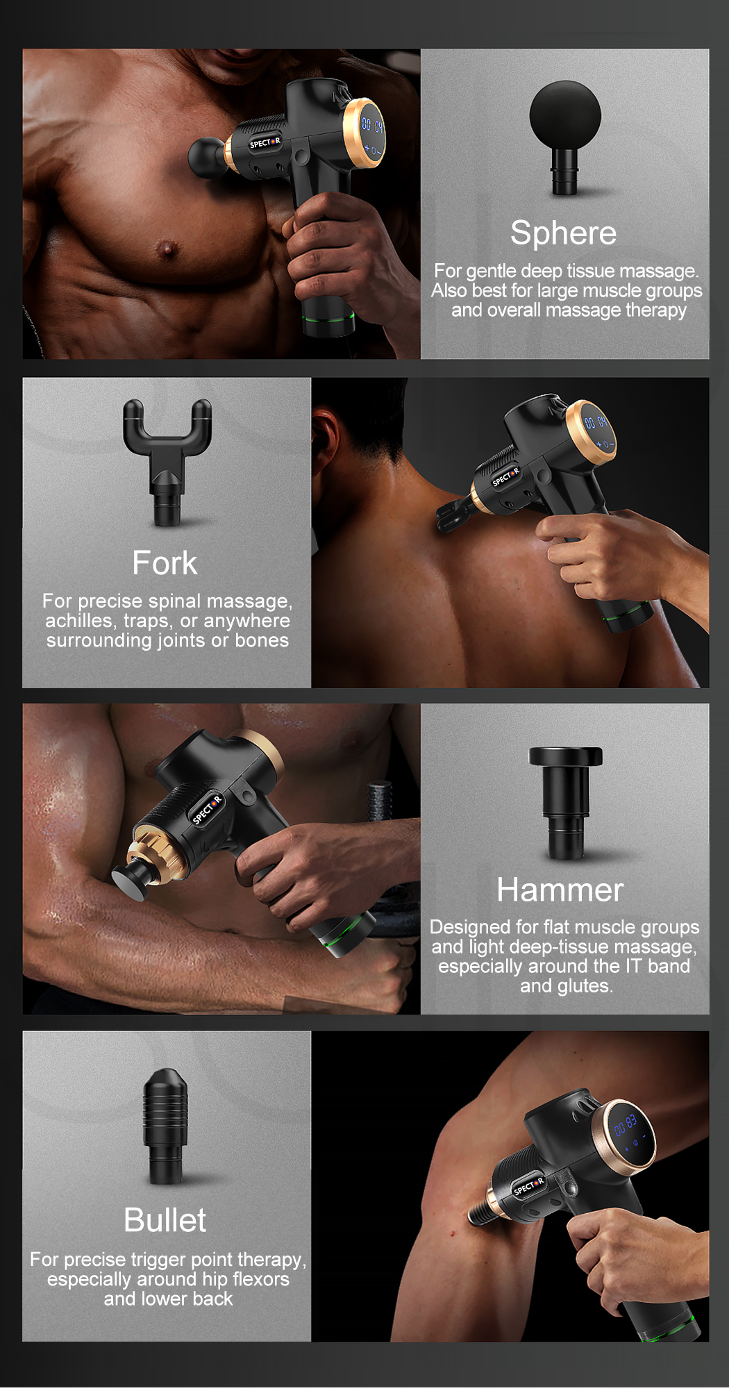 thumbnail 17 - Massage-Gun-Electric-Massager-Vibration-Muscle-Therapy-4-Heads-Percussion-Tissue