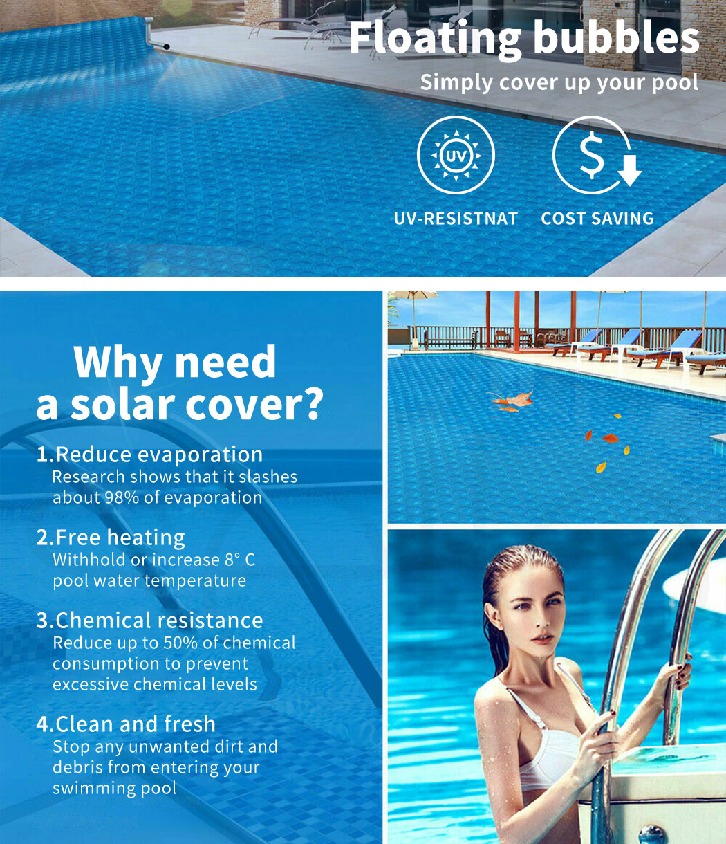 Solar-Swimming-Pool-Cover-400-500-Micron-Outdoor-Bubble-Blanket-Covers-7-Sizes thumbnail 117