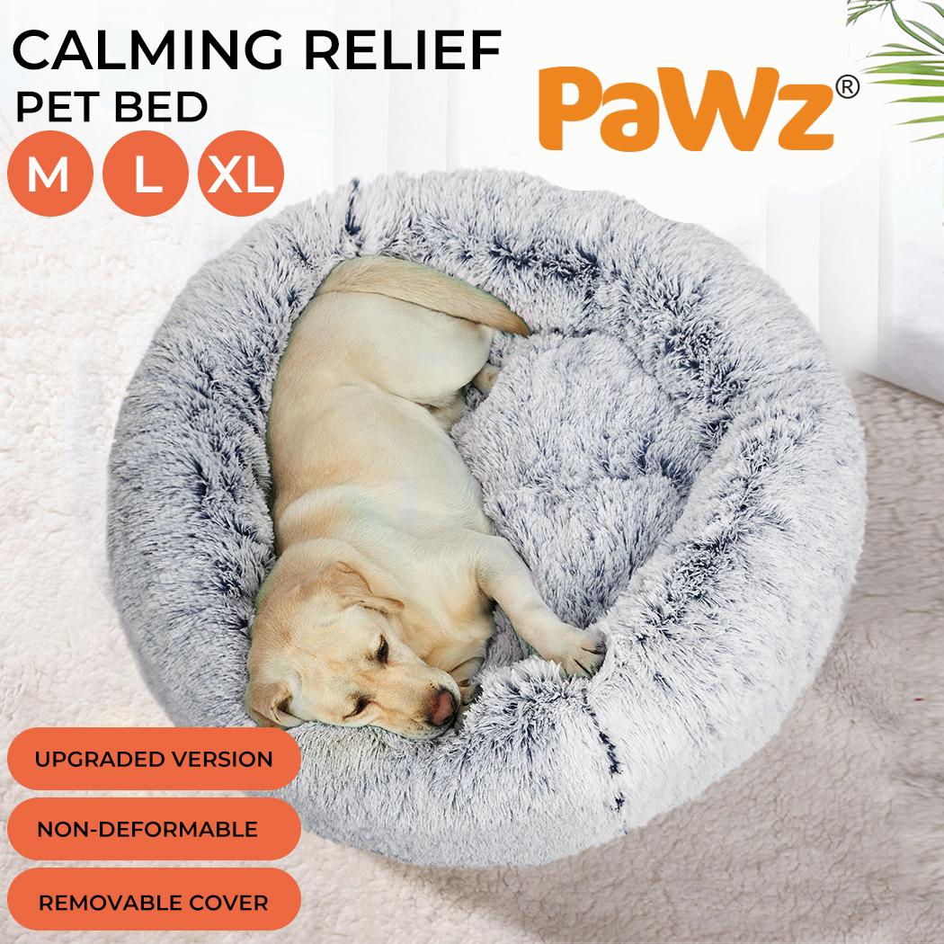 thumbnail 23 - PaWz Jumbo Pet Bed Cat Dog Donut Nest Calming Plush Kennel Washable Sleeping