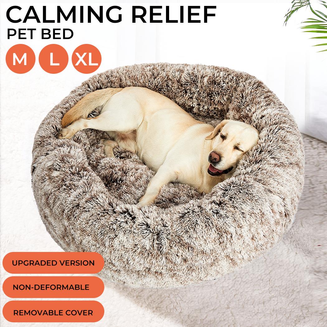 thumbnail 34 - PaWz Jumbo Pet Bed Cat Dog Donut Nest Calming Plush Kennel Washable Sleeping