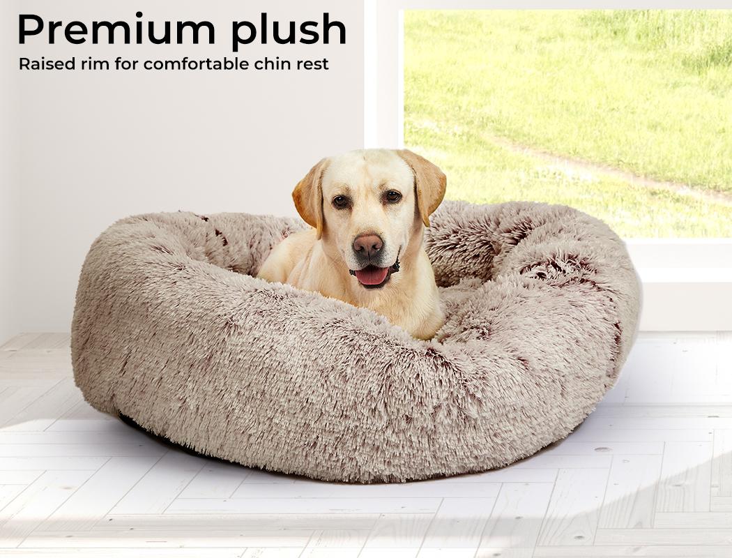 thumbnail 28 - PaWz Jumbo Pet Bed Cat Dog Donut Nest Calming Plush Kennel Washable Sleeping