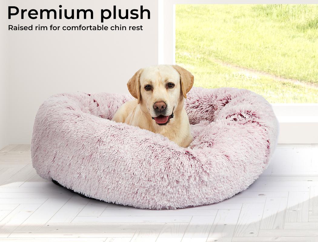 thumbnail 39 - PaWz Jumbo Pet Bed Cat Dog Donut Nest Calming Plush Kennel Washable Sleeping