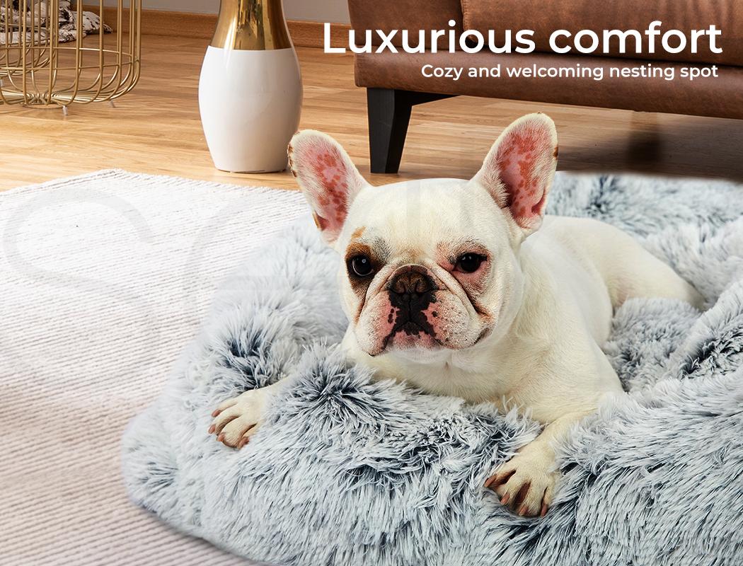 thumbnail 71 - PaWz Jumbo Pet Bed Cat Dog Donut Nest Calming Plush Kennel Washable Sleeping