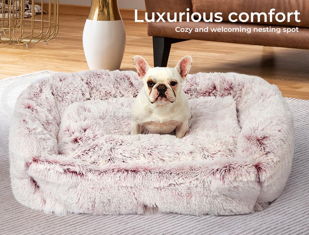 thumbnail 83 - PaWz Jumbo Pet Bed Cat Dog Donut Nest Calming Plush Kennel Washable Sleeping