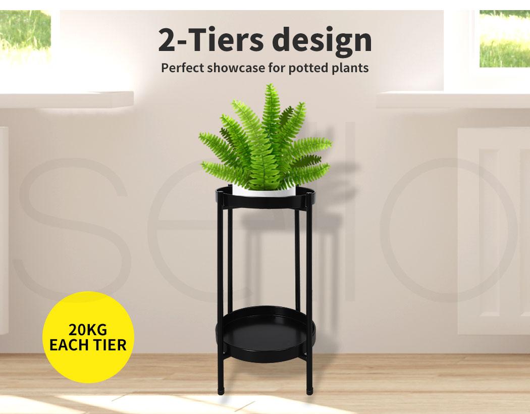 thumbnail 15 - Levede 2 Tiers Plant Stand Metal Flower Pots Rack Garden Shelf Outdoor Indoor
