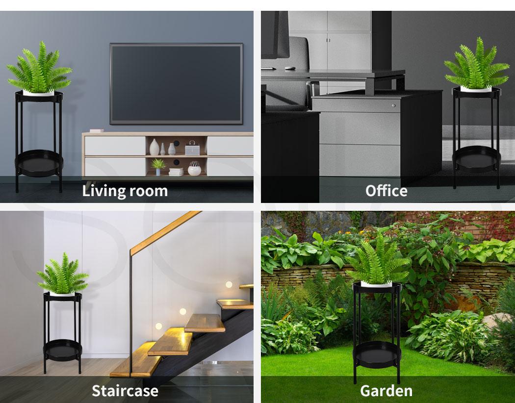thumbnail 21 - Levede 2 Tiers Plant Stand Metal Flower Pots Rack Garden Shelf Outdoor Indoor