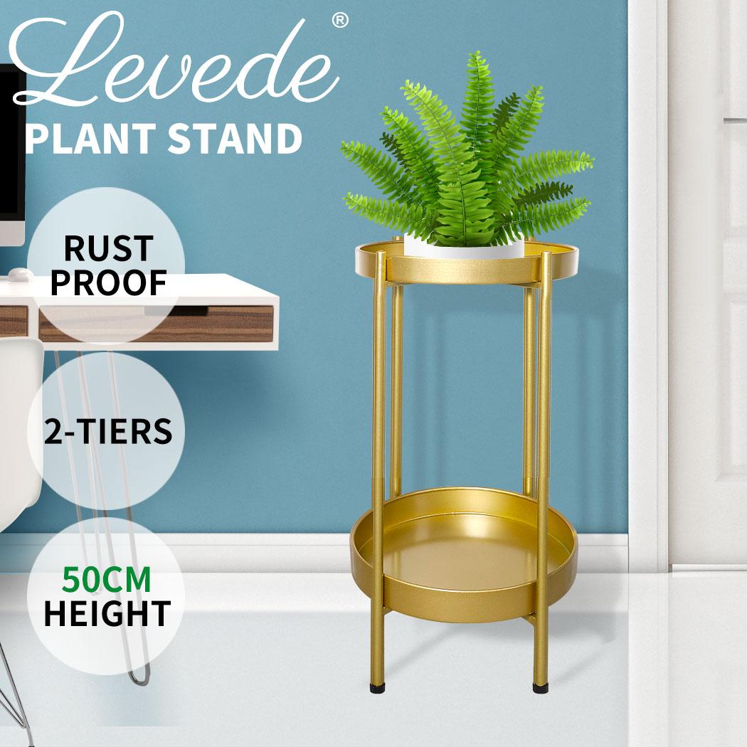 thumbnail 36 - Levede 2 Tiers Plant Stand Metal Flower Pots Rack Garden Shelf Outdoor Indoor