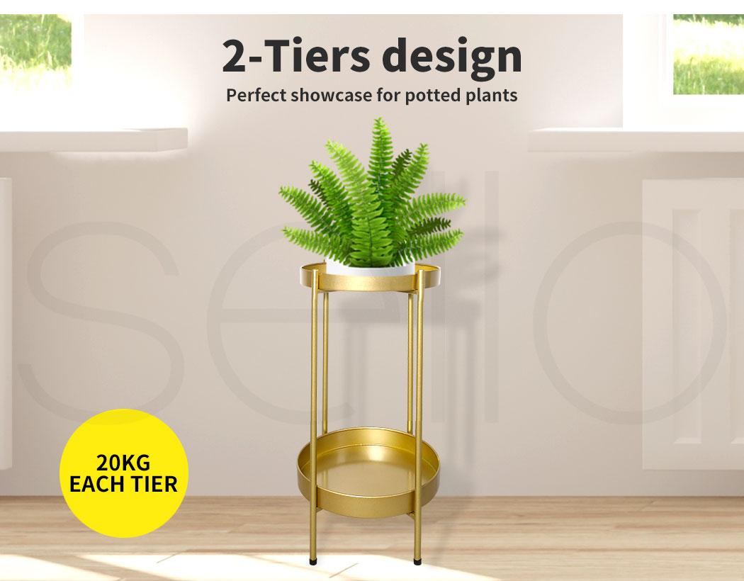 thumbnail 27 - Levede 2 Tiers Plant Stand Metal Flower Pots Rack Garden Shelf Outdoor Indoor