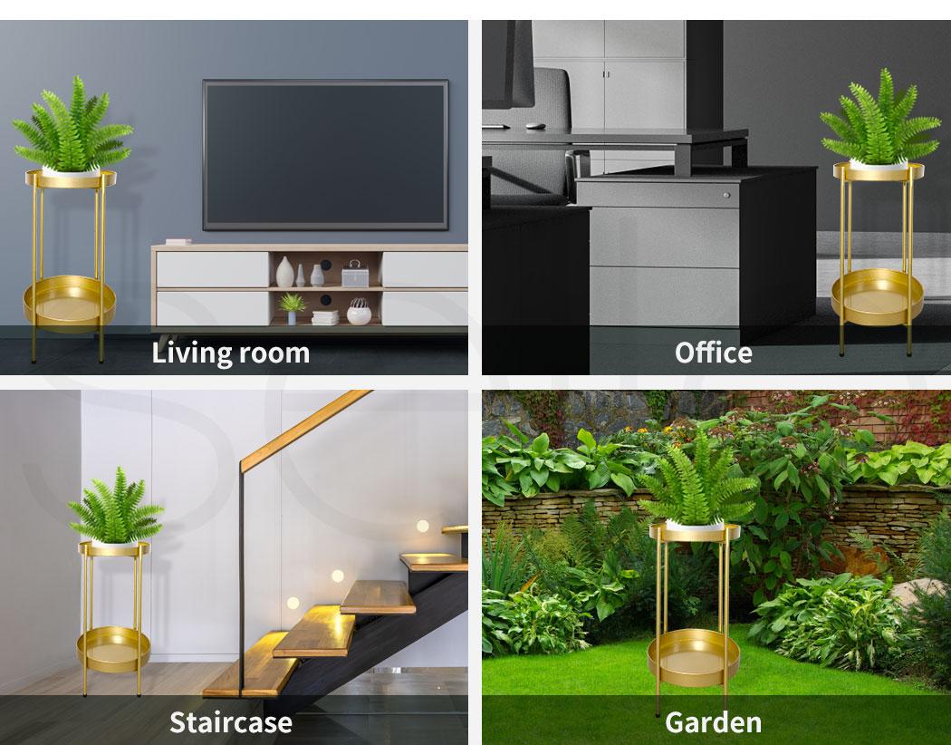 thumbnail 33 - Levede 2 Tiers Plant Stand Metal Flower Pots Rack Garden Shelf Outdoor Indoor