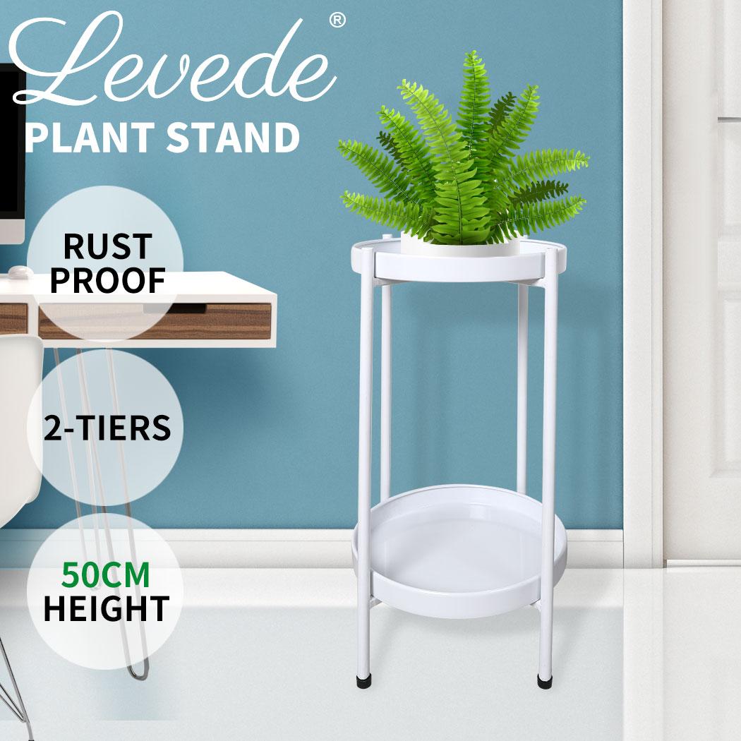 thumbnail 48 - Levede 2 Tiers Plant Stand Metal Flower Pots Rack Garden Shelf Outdoor Indoor